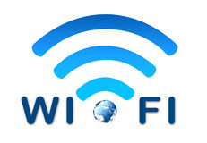 Wireless network blue symbol with earth Stock Images
