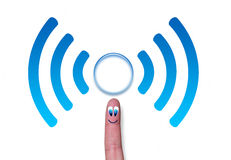 Wireless network symbol wifi with circle on finger Stock Photos