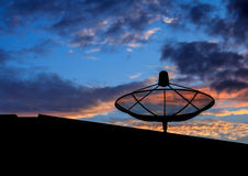 Wireless network communication technology via satellite. Stock Photos