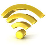 Wireless network 3d golden sign. On white background Stock Photo