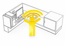 Wireless network enabled office space desk cubicle. Wirelles happy person symbol - 3d rendering stock illustration