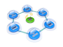 Wireless network with firewall Royalty Free Stock Photos