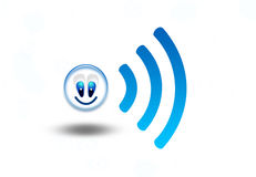 Wireless network funny symbol wifi Royalty Free Stock Images