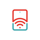 Wireless network icon on tablet pc laptop vector illustration. Stock Images