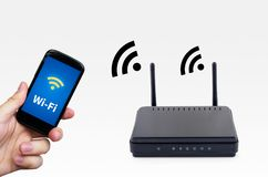 Wireless network with mobile device Royalty Free Stock Photos