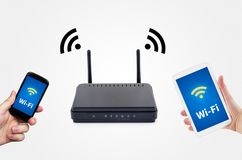 Wireless network with mobile devices Royalty Free Stock Photography