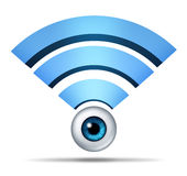 Wireless Network Security Symbol. With a human eye watching as protection of the global communication mobile technology with a three dimensional blue icon of vector illustration