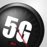 Wireless network speed concept, speedometer 5G evolution. Realistic vector illustration stock illustration