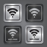 Wireless Network Symbol. Metal app icon. Stock Image