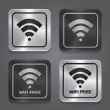 Wireless Network Symbol. Metal app icon. Vector Stock Image