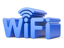 Wireless Network Symbol - WiFi. 3d illustration  on a white Stock Images