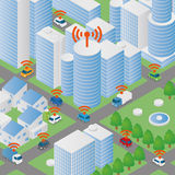 Wireless network of vehicle image illustration, Connected Car, Intelligent Car Royalty Free Stock Image