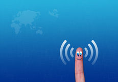 Wireless network wifi finger metaphor Royalty Free Stock Photos