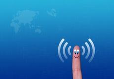 Wireless network wifi finger metaphor. Illustration Royalty Free Stock Photos