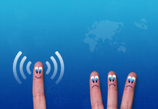 Wireless network wifi fingers metaphor Stock Images