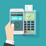 Wireless payment with smartphone and nfc terminal vector illustration Royalty Free Stock Images