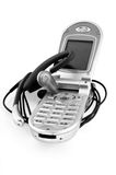 Wireless phone and microphone. B&W. Macro Royalty Free Stock Photos