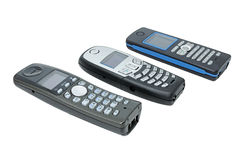 Wireless phones. Three wireless phones with LCD, standard DECT royalty free stock image