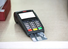Wireless pos terminal with card Royalty Free Stock Photography