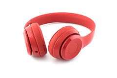 Free Wireless Red Headphone On White Royalty Free Stock Photography - 74773067