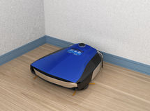 Wireless robotic vacuum cleaner charging in docking station Royalty Free Stock Images