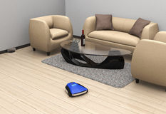 Wireless robotic vacuum cleaner in ivory color interior Royalty Free Stock Photos