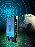 Wireless router. Stylish wireless router with radio waves originating from its antenna. Digital illustration Stock Images