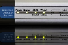 Wireless Router. Is on and LED are blinking Royalty Free Stock Images