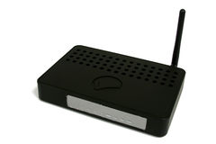 Wireless Router. Black Wireless Internet Router with antenna Stock Image