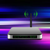 Wireless Router with the antenna illustration  on abstract  back Royalty Free Stock Photo