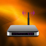 Wireless Router with the antenna illustration on abstract back. Ground stock illustration