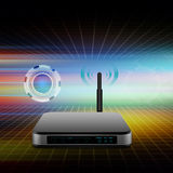 Wireless Router with the antenna illustration  on abstract  back Stock Photography