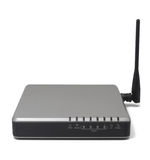 Wireless Router with the antenna isolated on white background.Mo. Dern wireless router.High speed internet connection, computer network and telecommunication royalty free illustration
