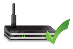 Wireless Router check mark. Illustration design over a white background Royalty Free Stock Photos