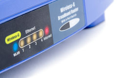 Wireless router close-up. Wireless router LED signs (isolated Royalty Free Stock Photos