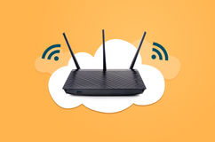 Wireless router on cloud composition Royalty Free Stock Photography