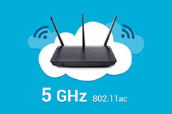 Wireless router on cloud composition stock images