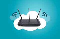 Wireless router on cloud composition. Modern wireless router on cloud graphic composition Royalty Free Stock Image