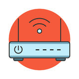 Wireless router flat line icon Royalty Free Stock Photo