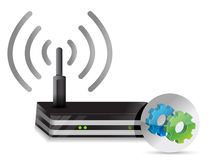 Wireless Router and gears Royalty Free Stock Photography