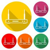 Wireless router icon, color icon with long shadow. Simple vector icons set Royalty Free Illustration