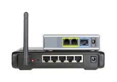 Wireless router and internet phone adapter. Router and internet phone adapter Stock Photos