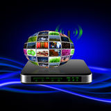 Wireless Router with internet production technology concept Stock Images
