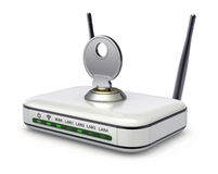 Wireless router with the key. 3D wifi security concept Stock Photography