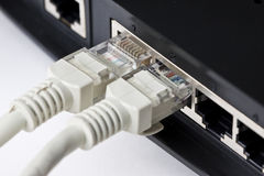 Wireless router and Lan cable Stock Photography