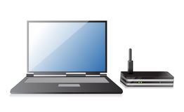 Wireless Router and laptop. Illustration design over a white background Stock Images