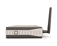 Wireless router side view. Isolate on white background. 3d illustration Royalty Free Stock Image