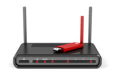 Wireless router and usb wireless adapter Stock Photos