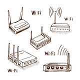 Wireless router vector sketch. Icon set isolated on background. Wi-Fi  modem Royalty Free Stock Photos