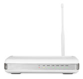 Wireless router on white with clipping path Stock Photos
